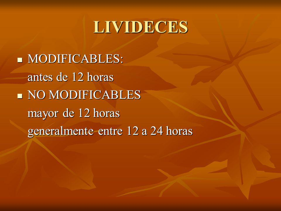 LIVIDECES MODIFICABLES: antes de 12 horas NO MODIFICABLES