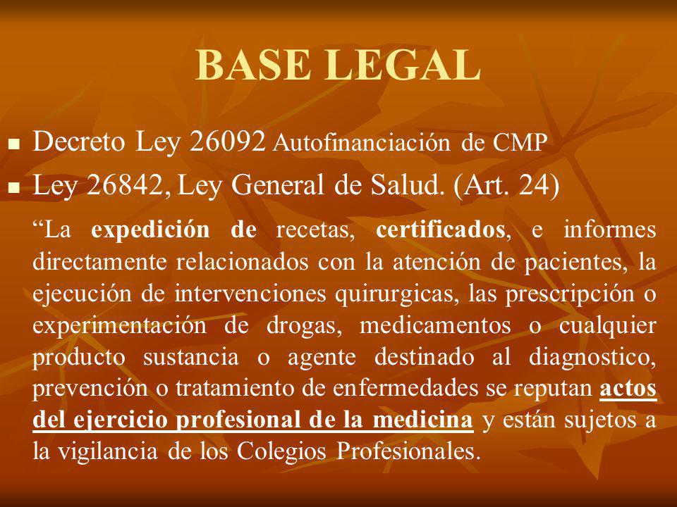 BASE LEGAL Decreto Ley 26092 Autofinanciación de CMP