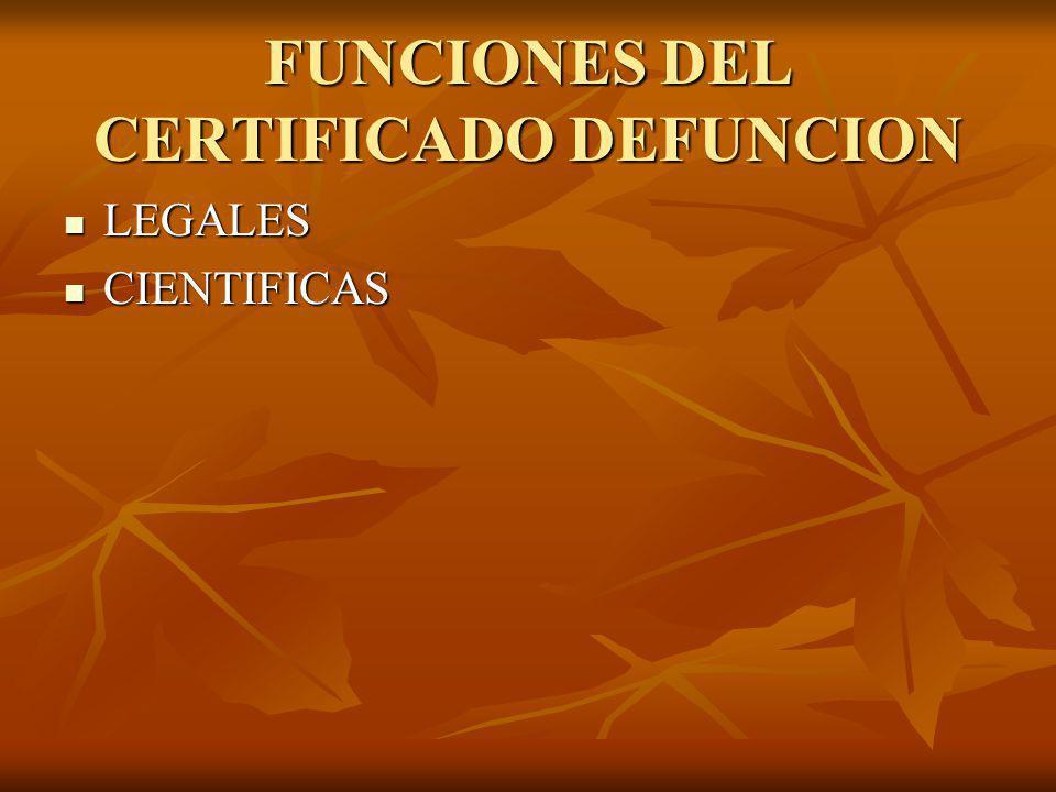 FUNCIONES DEL CERTIFICADO DEFUNCION