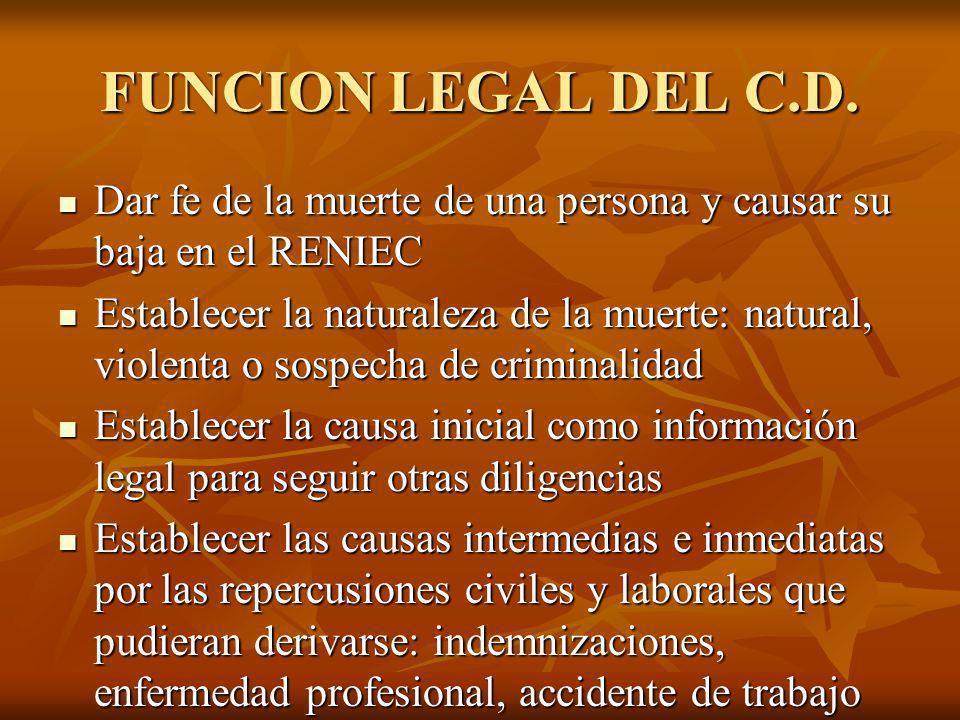 FUNCION LEGAL DEL C.D. Dar fe de la muerte de una persona y causar su baja en el RENIEC.