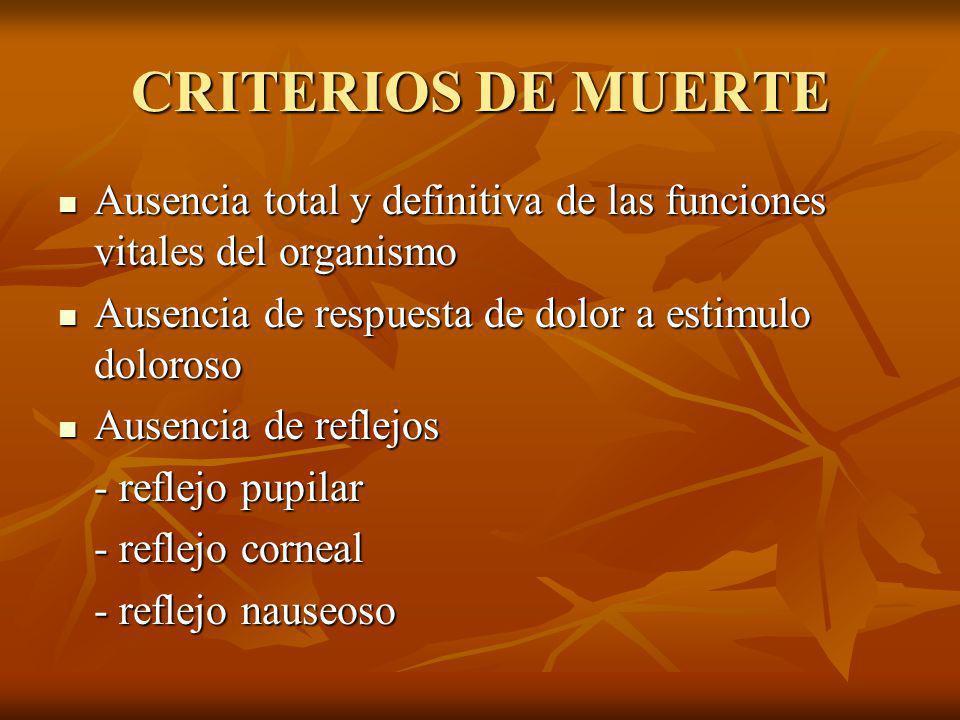 CRITERIOS DE MUERTE Ausencia total y definitiva de las funciones vitales del organismo. Ausencia de respuesta de dolor a estimulo doloroso.