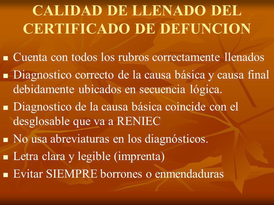CALIDAD DE LLENADO DEL CERTIFICADO DE DEFUNCION