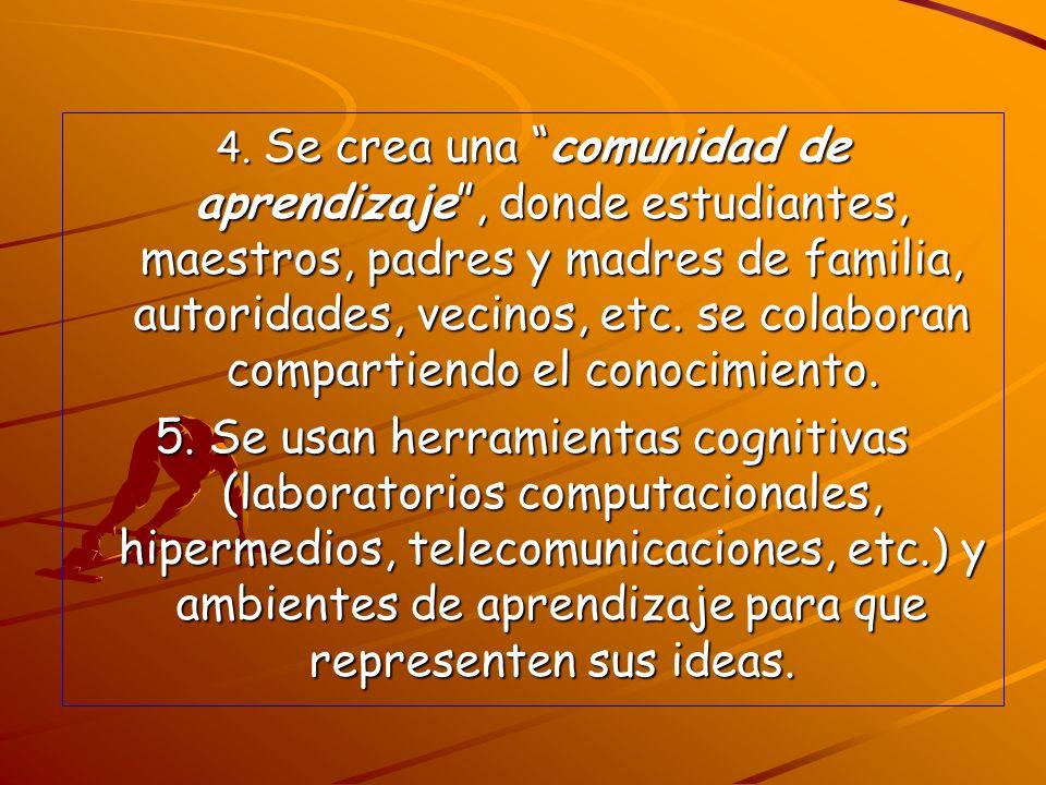 4. Se crea una comunidad de aprendizaje , donde estudiantes, maestros, padres y madres de familia, autoridades, vecinos, etc. se colaboran compartiendo el conocimiento.