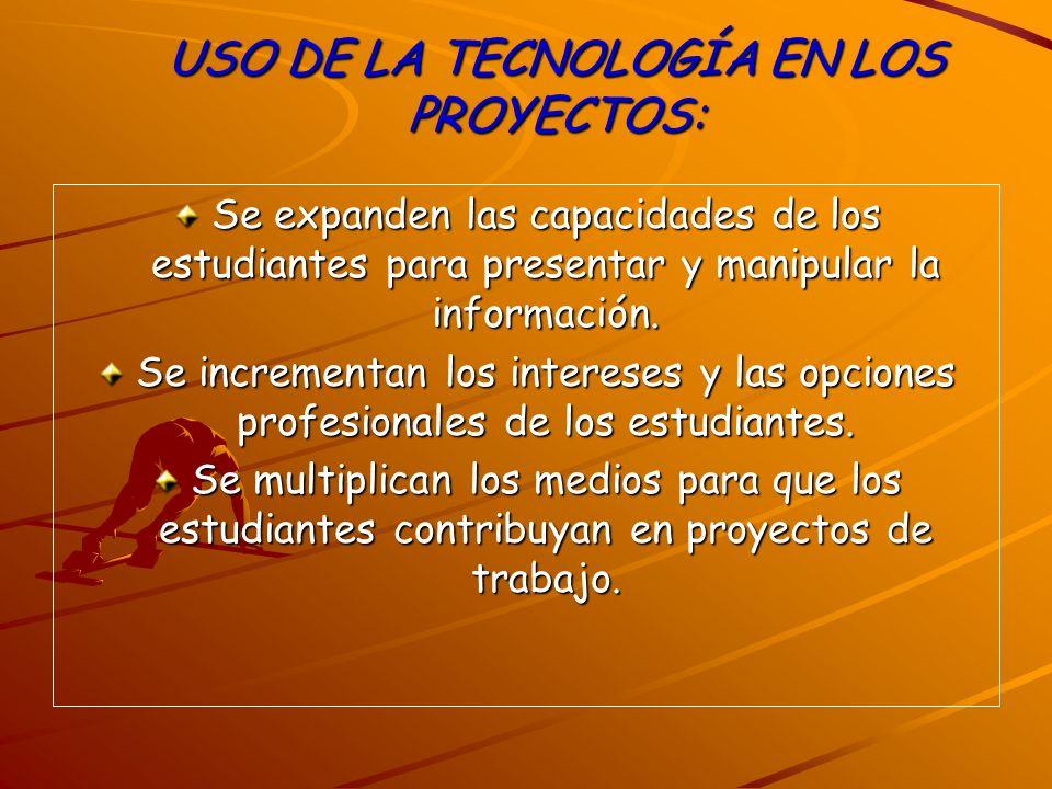 USO DE LA TECNOLOGÍA EN LOS PROYECTOS: