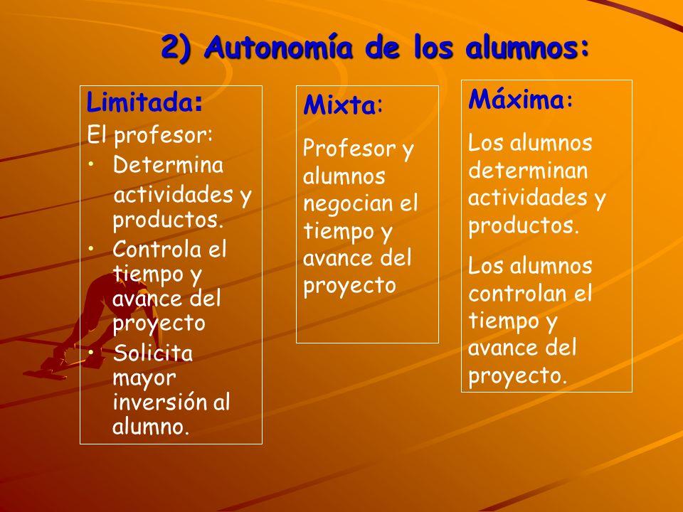 2) Autonomía de los alumnos: