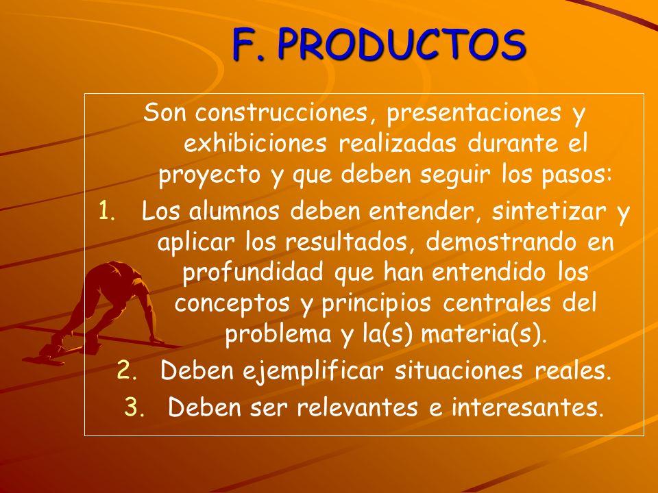 F. PRODUCTOS Son construcciones, presentaciones y exhibiciones realizadas durante el proyecto y que deben seguir los pasos: