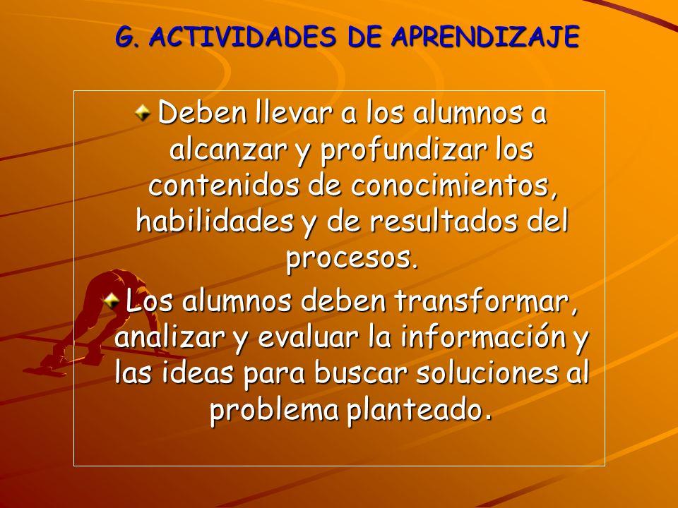 G. ACTIVIDADES DE APRENDIZAJE