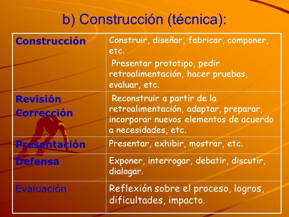 b) Construcción (técnica):