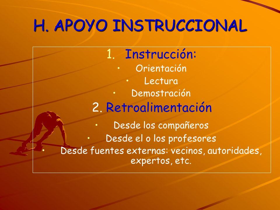 H. APOYO INSTRUCCIONAL Instrucción: 2. Retroalimentación Orientación