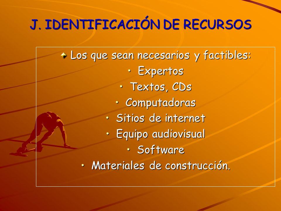 J. IDENTIFICACIÓN DE RECURSOS