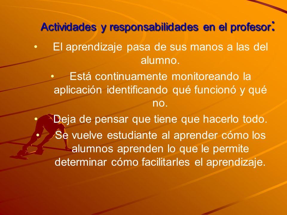 Actividades y responsabilidades en el profesor: