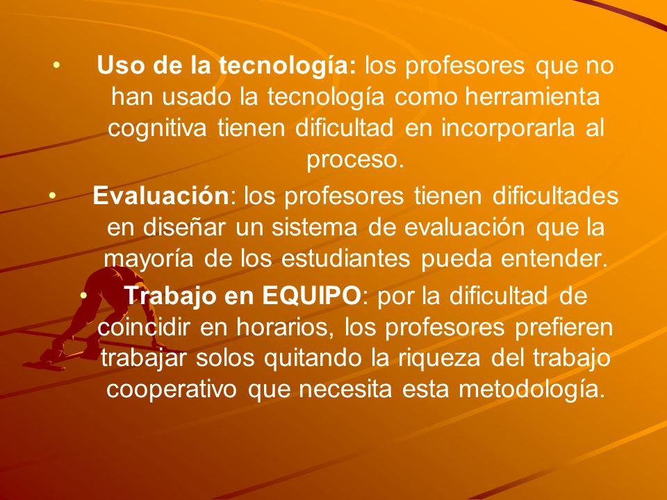 Uso de la tecnología: los profesores que no han usado la tecnología como herramienta cognitiva tienen dificultad en incorporarla al proceso.