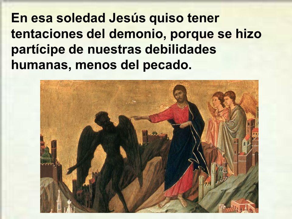 En esa soledad Jesús quiso tener tentaciones del demonio, porque se hizo partícipe de nuestras debilidades humanas, menos del pecado.