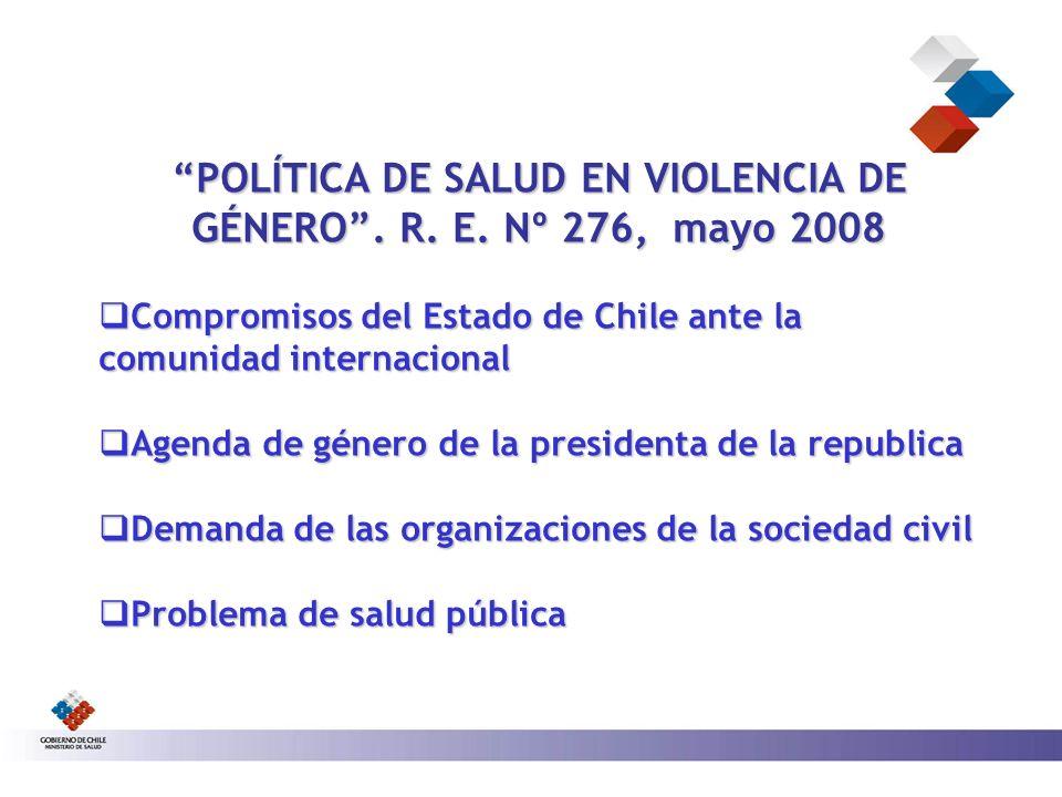 POLÍTICA DE SALUD EN VIOLENCIA DE GÉNERO . R. E. Nº 276, mayo 2008