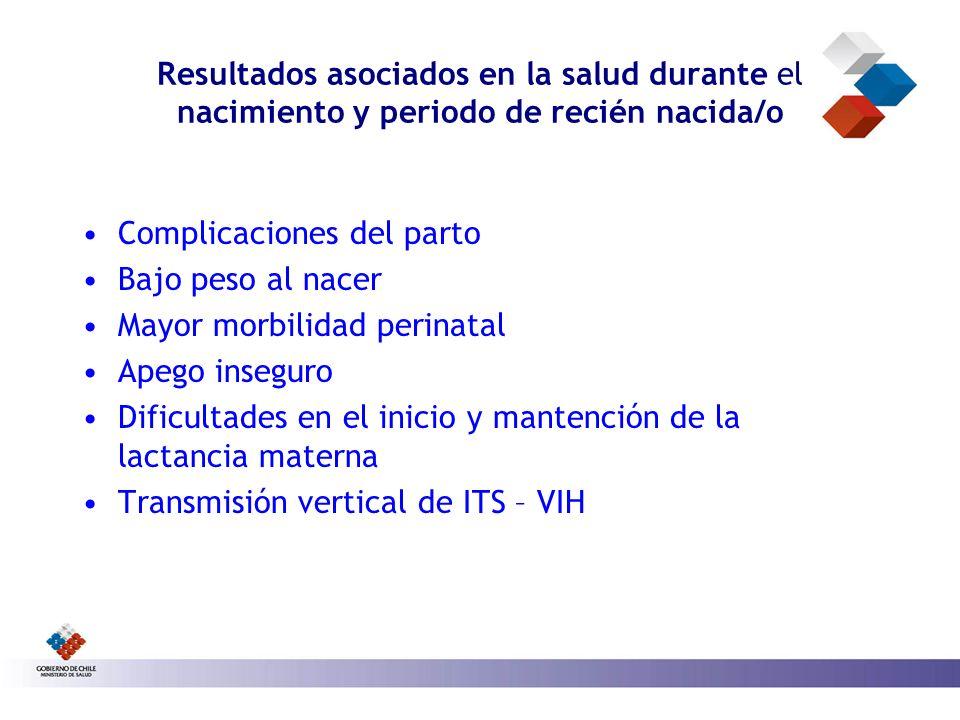 Resultados asociados en la salud durante el nacimiento y periodo de recién nacida/o