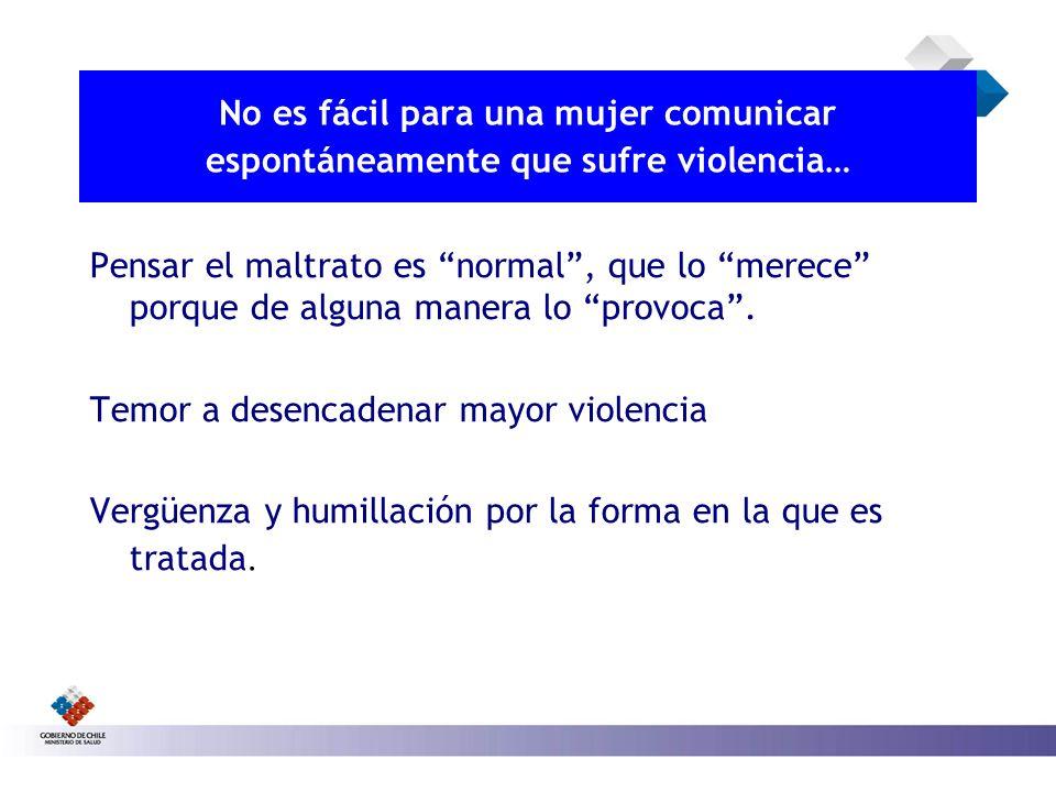 No es fácil para una mujer comunicar espontáneamente que sufre violencia…