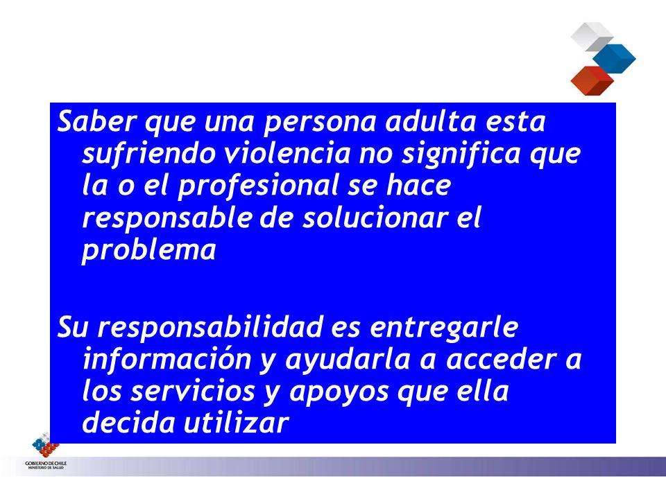 Saber que una persona adulta esta sufriendo violencia no significa que la o el profesional se hace responsable de solucionar el problema