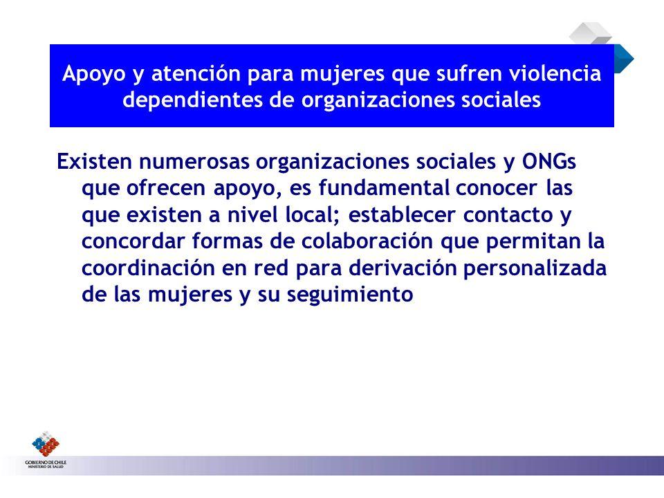 Apoyo y atención para mujeres que sufren violencia dependientes de organizaciones sociales