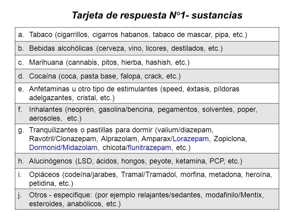 Tarjeta de respuesta N°1- sustancias