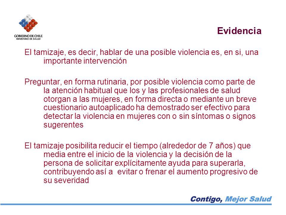 Evidencia El tamizaje, es decir, hablar de una posible violencia es, en si, una importante intervención.