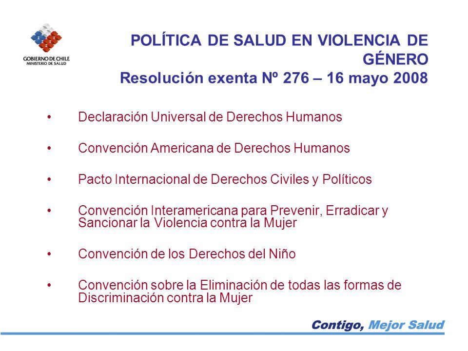 POLÍTICA DE SALUD EN VIOLENCIA DE GÉNERO Resolución exenta Nº 276 – 16 mayo 2008