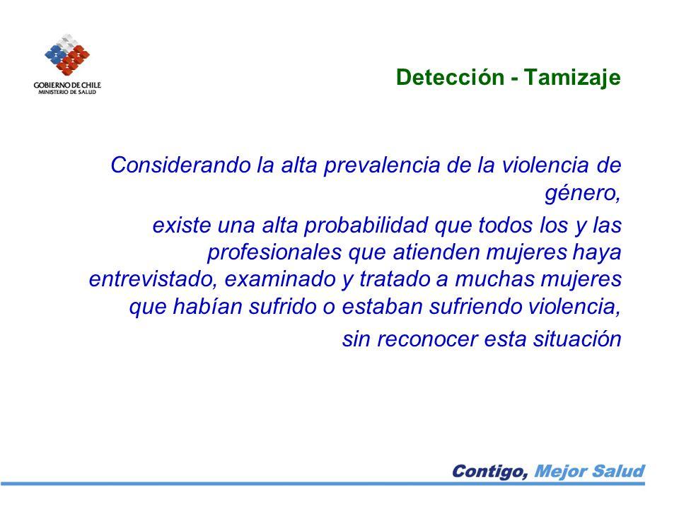 Detección - Tamizaje Considerando la alta prevalencia de la violencia de género,