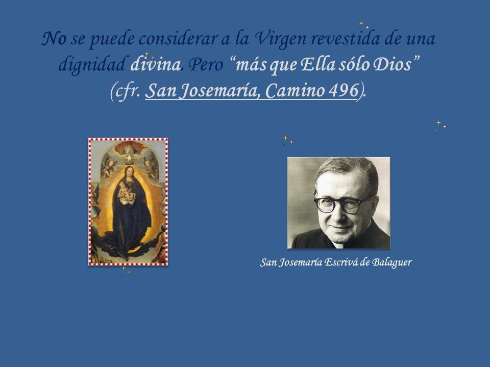 No se puede considerar a la Virgen revestida de una dignidad divina