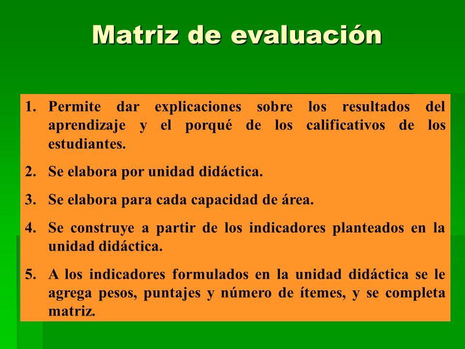 Matriz de evaluación Permite dar explicaciones sobre los resultados del aprendizaje y el porqué de los calificativos de los estudiantes.