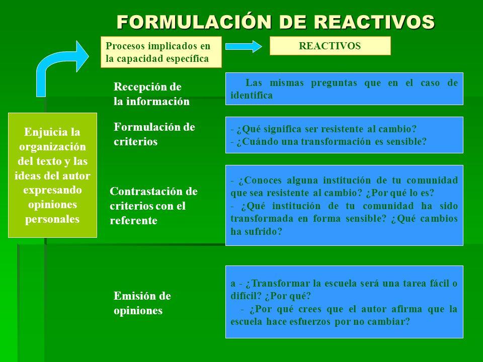 FORMULACIÓN DE REACTIVOS