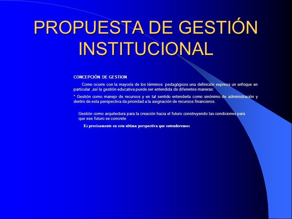 PROPUESTA DE GESTIÓN INSTITUCIONAL