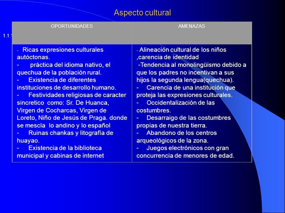 Aspecto cultural OPORTUNIDADES. AMENAZAS. - Ricas expresiones culturales autóctonas.