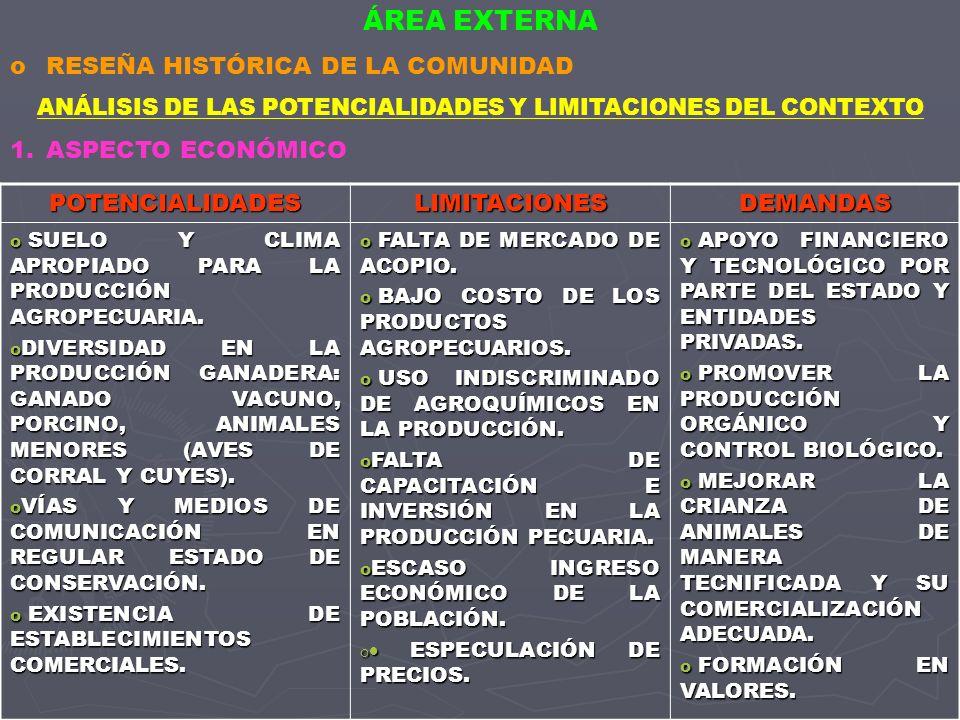 ANÁLISIS DE LAS POTENCIALIDADES Y LIMITACIONES DEL CONTEXTO