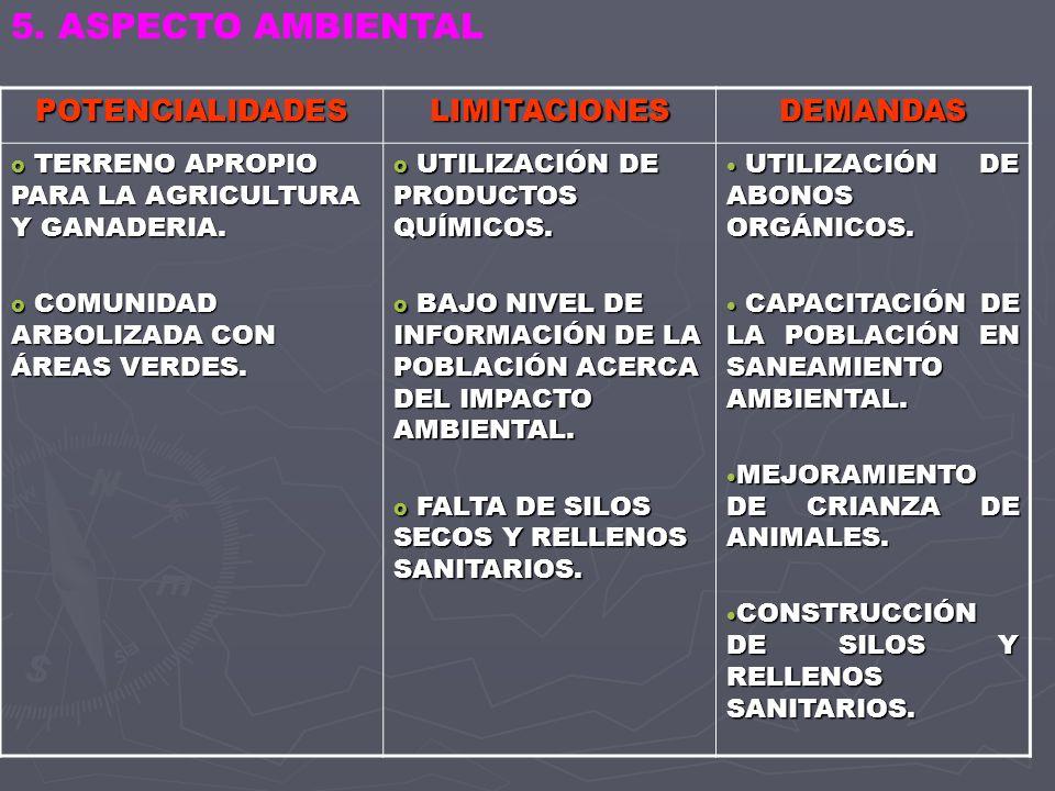 5. ASPECTO AMBIENTAL POTENCIALIDADES LIMITACIONES DEMANDAS