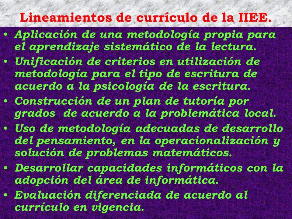 Lineamientos de currículo de la IIEE.
