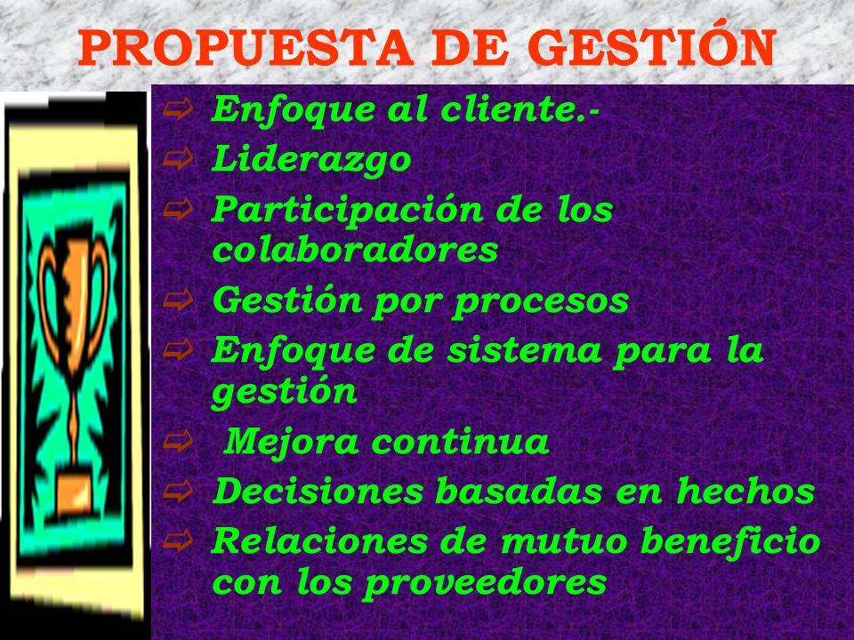 PROPUESTA DE GESTIÓN Enfoque al cliente.- Liderazgo
