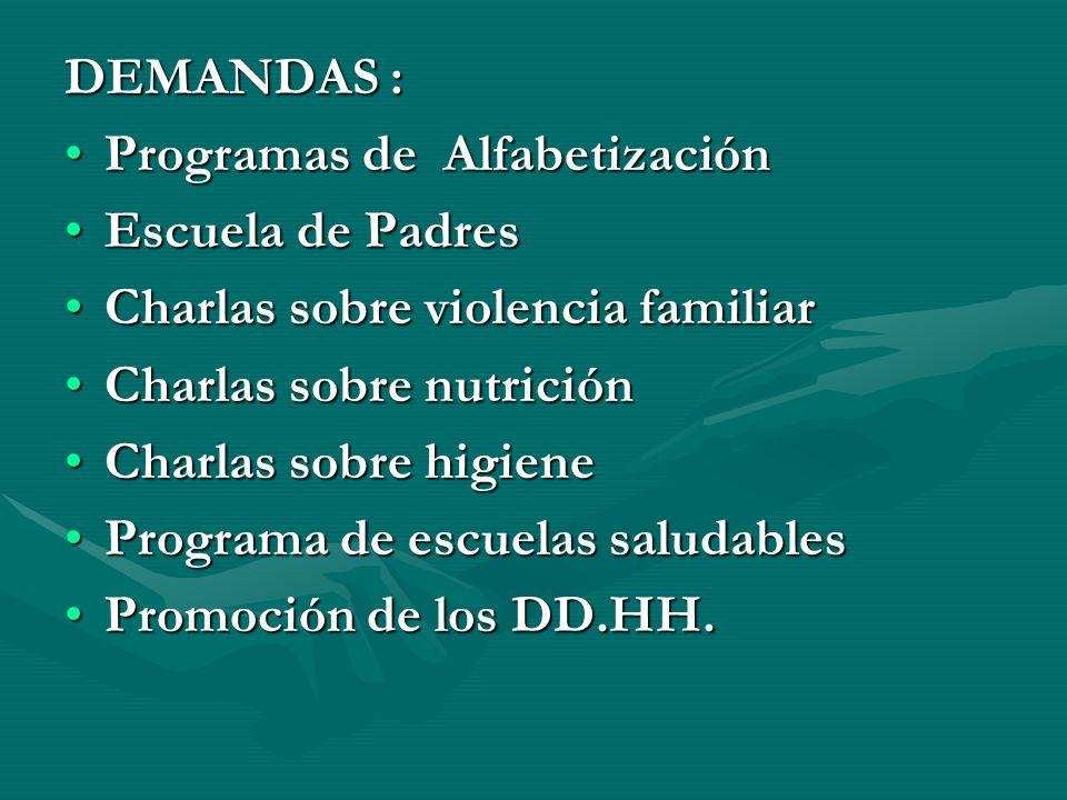 DEMANDAS : Programas de Alfabetización. Escuela de Padres. Charlas sobre violencia familiar. Charlas sobre nutrición.