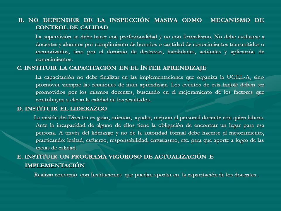 B. NO DEPENDER DE LA INSPECCIÓN MASIVA COMO MECANISMO DE CONTROL DE CALIDAD