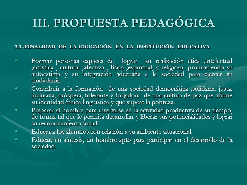 III. PROPUESTA PEDAGÓGICA
