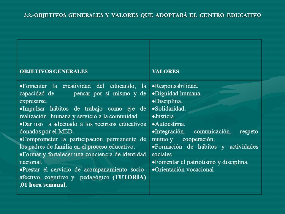 3.2.-OBJETIVOS GENERALES Y VALORES QUE ADOPTARÁ EL CENTRO EDUCATIVO