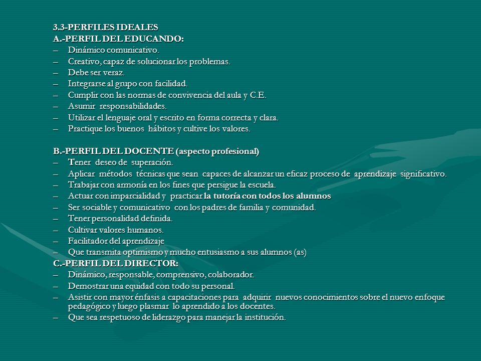 3.3-PERFILES IDEALES A.-PERFIL DEL EDUCANDO: Dinámico comunicativo. Creativo, capaz de solucionar los problemas.