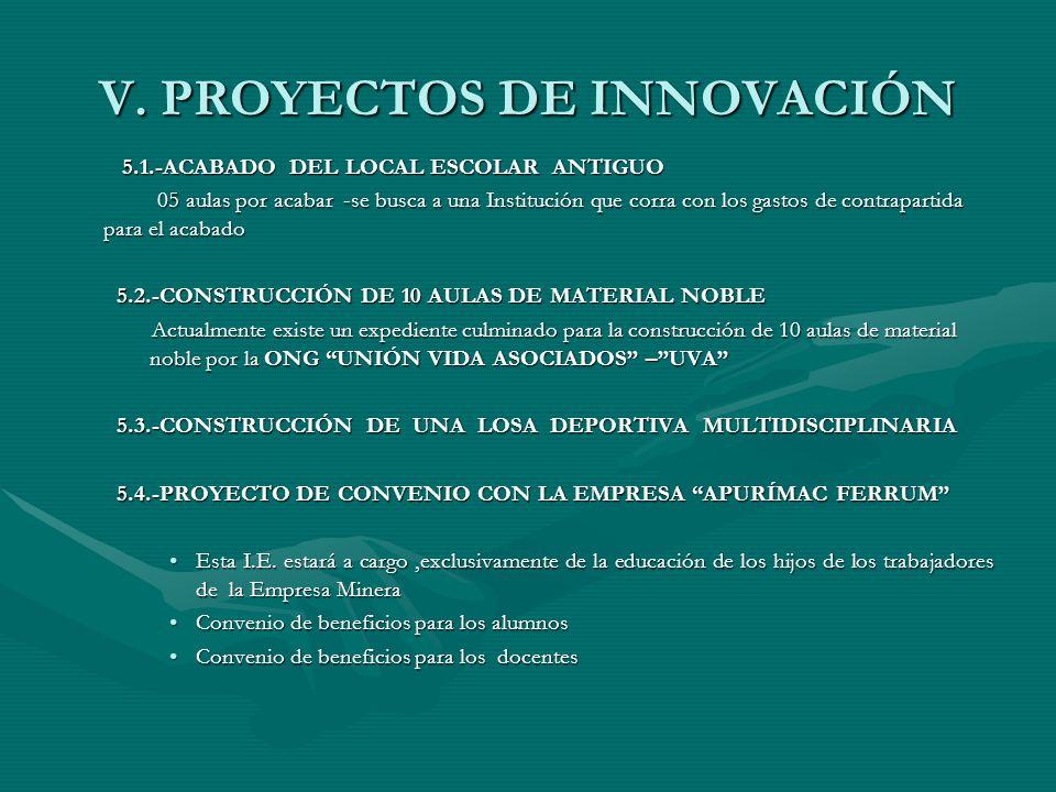 V. PROYECTOS DE INNOVACIÓN