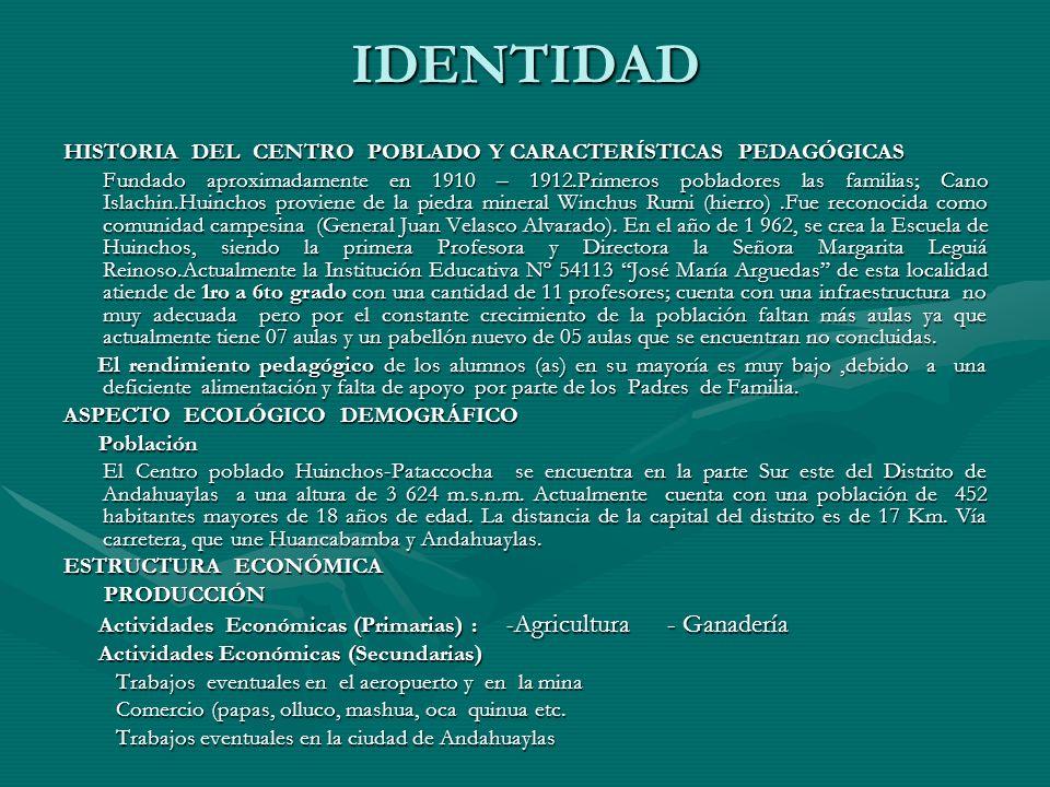 IDENTIDAD HISTORIA DEL CENTRO POBLADO Y CARACTERÍSTICAS PEDAGÓGICAS