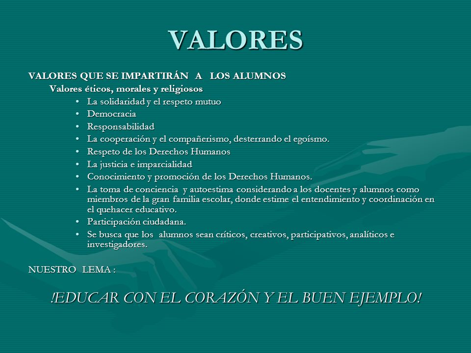 !EDUCAR CON EL CORAZÓN Y EL BUEN EJEMPLO!