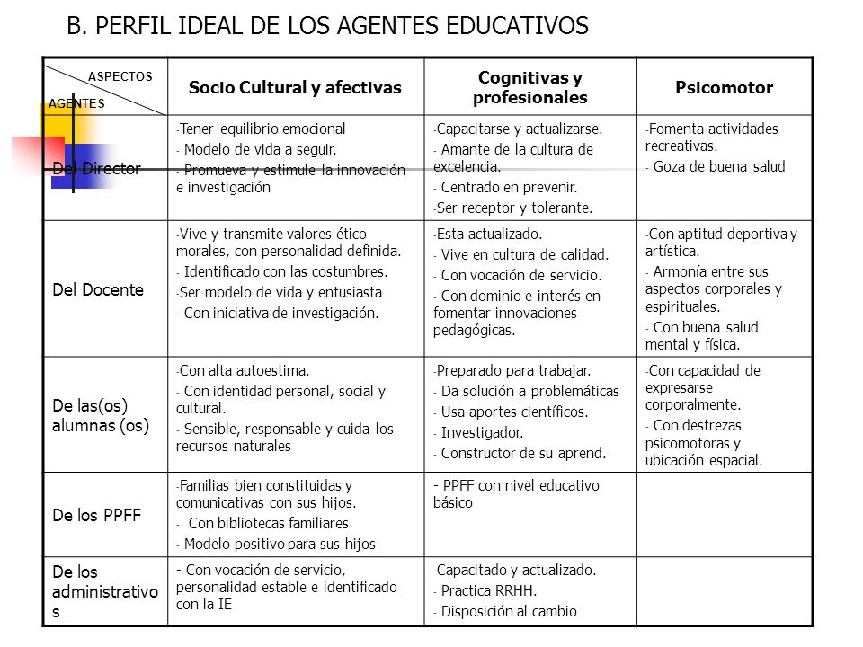 B. PERFIL IDEAL DE LOS AGENTES EDUCATIVOS