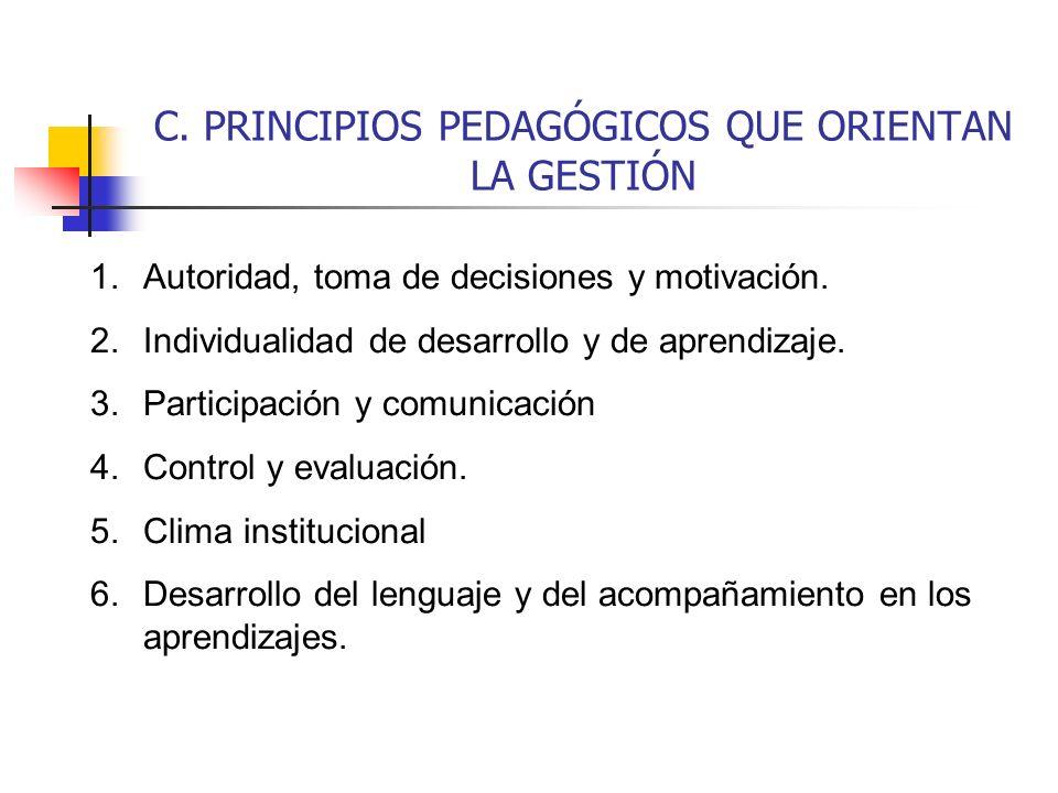 C. PRINCIPIOS PEDAGÓGICOS QUE ORIENTAN LA GESTIÓN