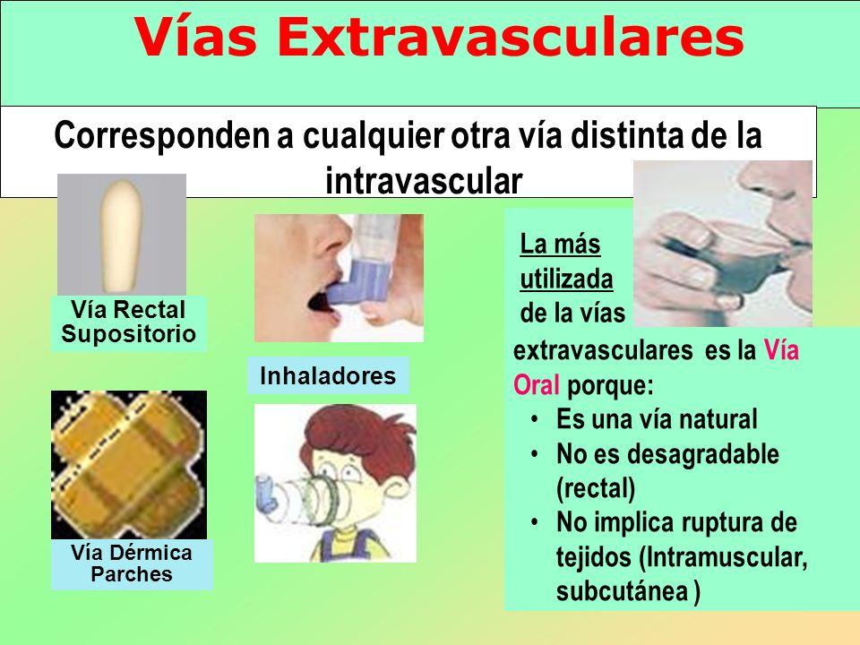 Corresponden a cualquier otra vía distinta de la intravascular