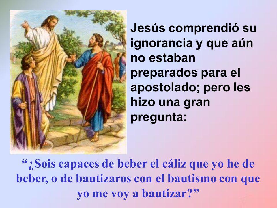 Jesús comprendió su ignorancia y que aún no estaban preparados para el apostolado; pero les hizo una gran pregunta: