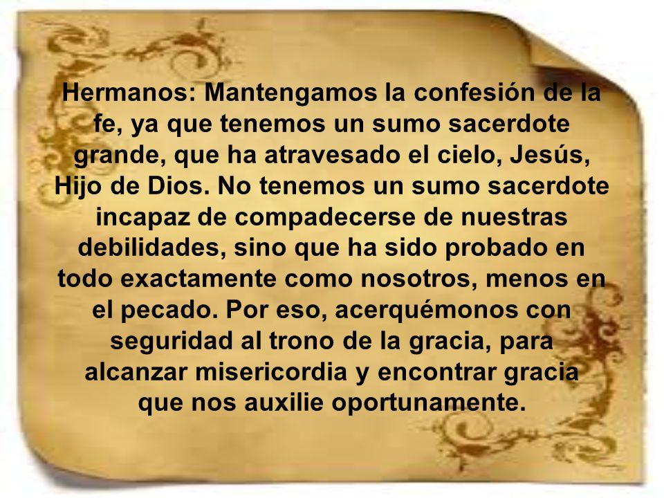 Hermanos: Mantengamos la confesión de la fe, ya que tenemos un sumo sacerdote grande, que ha atravesado el cielo, Jesús, Hijo de Dios.