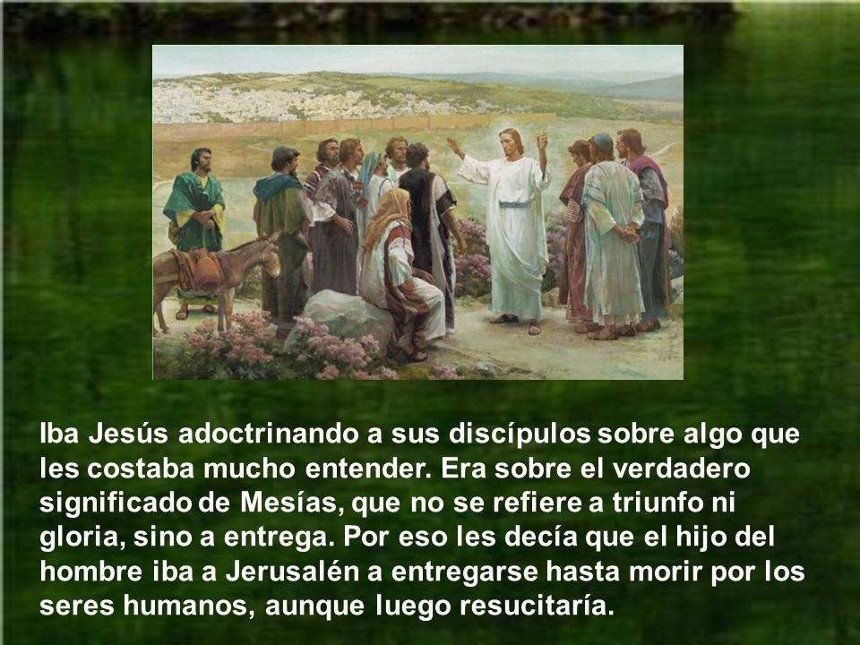 Iba Jesús adoctrinando a sus discípulos sobre algo que les costaba mucho entender.