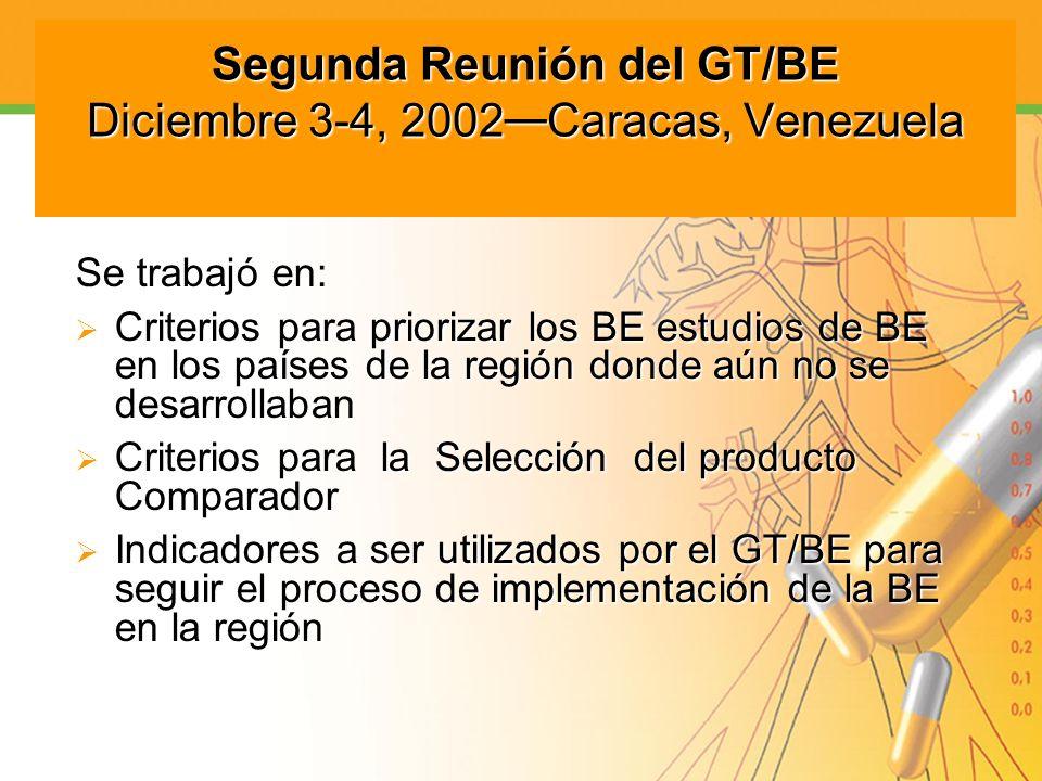Segunda Reunión del GT/BE Diciembre 3-4, 2002—Caracas, Venezuela